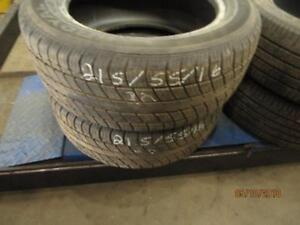 215/55R16 PAIR OF 2 USED ONLY UNIROYAL A/S