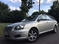 2008 ESTATE DIESEL TOYOTA AVENSIS T2 D-4D. BRILLIANT DRIVE. 1 OWNER.A/C. E/W. 3 KEYS. ALLOY WHEELS