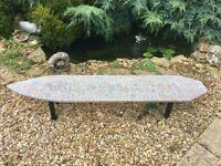 Art Deco Unique Beach Surf Board Concrete Coffee Table with Steel Legs