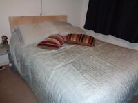Double bed, base with 4 drawers, memory foam matress and faux suede headboard