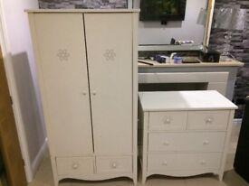 Girls mamas & papas white wardrobe and drawers