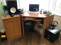 Corner desk and cupboard