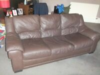 Brown leather arm chair and matching 3 seater sofa