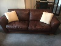 3 Seater real leather mid brown sofa