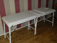 Massage Table, Sturdy metal action, Easy clean Faux Leather, Never Used.