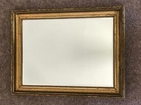 Vintage large heavy solid gilt edged bevelled mirror