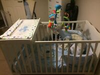 Cot/bed, changing table, bedding & mobile