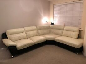 4 Seater Cream Leather Corner Sofa and matching 1 Seater Chair