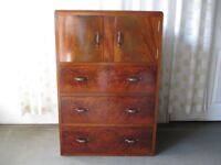 VINTAGE WALNUT VENEER THREE DRAWER TALLBOY WITH LARGE CUPBOARD CHEST OF DRAWERS FREE DELIVERY