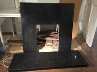 Granite hearth and matching back plate - excellent condition