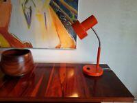 VINTAGE ORIG MID CENTURY TANGO ORANGE PIFCO 986 GOOSE NECK ANGLEPOISE LAMP MCM HOME OFFICE STUDY