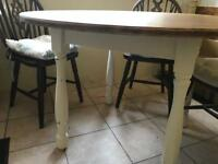 Beautiful solid oak farmhouse kitchen table with cream painted legs
