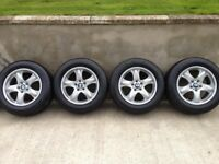 BMW X5 E53 STYLE 58 STAR SPOKE ALLOY WHEELS WITH EXCELLENT DUNLOP WINTER TYRES