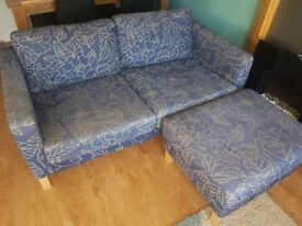 2 x Ikea sofas and large foot stools