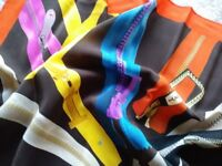Iceberg Silk Scarf with vibrantly coloured zips