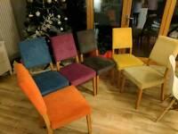 "6x Mulit Coloured ""Harveys Lagoona"" fabric dining room chairs."