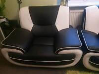 Black and white sofa set