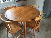 Extendable Pine Table and Chairs