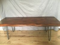 Very solid heavy plank coffee table with hairpin legs