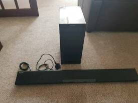 Panasonic wireless sound bar and subwoofer Bluetooth and optic fiber csble