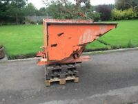 forklift tipping skip with side loader