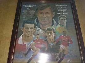 3 large man united pictures in mahogany frames