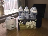 Tommee Tippee Bottle Warmer + 10 Tommee Tippee Bottles (New/Never Used)