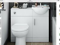White vanity unit with small sink. New and unused
