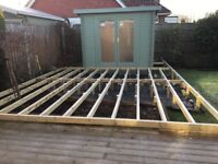 Treated wooden Decking planks and joists. Nearly new. All screws for installation included.