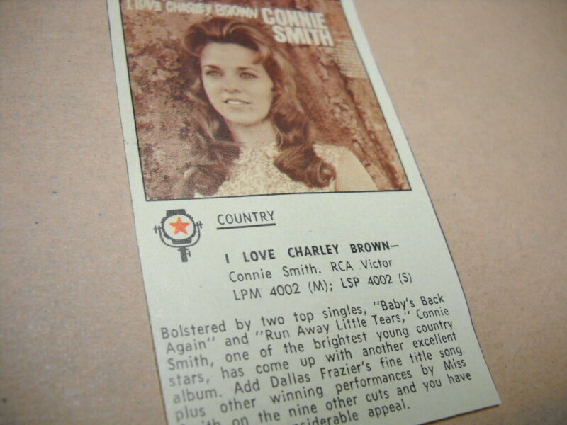 CONNIE SMITH original 1968 music business album review I LOVE CHARLEY BROWN