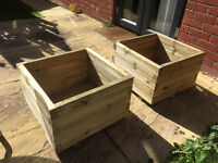 Large Pair of New Square Wooden Planters x2 (two of) £30 each Free Delivery in Northampton