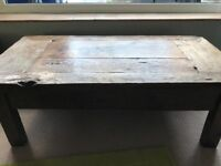 Solid dark wood ( oak or mango) rustic coffee table with one drawer bought in Liberty warehouse