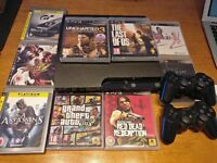 PS3 Slim with 2 controller & 12 games Last of Us, Uncharted, GTA5, Tomb Raider, Mass Effect