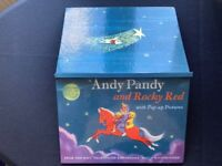 VINTAGE 1950's ANDY PANDY AND ROCKY RED POP UP PICTURE BOOK DARK BLUE COVER GC