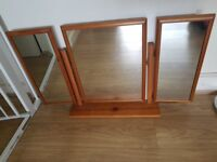 Pine Solid Wooden Mirror For Dressing Table