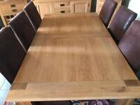 Solid oak Dining Room Table and 6 high back chairs