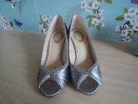 Ladies silver high heeled shoes - Size 5 (Debut) .