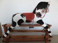 Vintage hard carved wooden Rocking horse