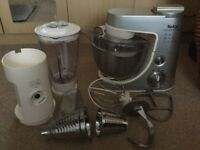 Tefal Kitchen Machine mixer/blender/shredder, stainless steel, lots of accessories