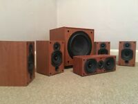 Home surround sound speaker set - Wharfedale SW150 subwoofer with 4 Diamond 9.0 speakers and 1 9.CC