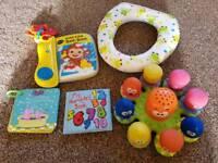 Bath toys & toddler toilet seat.