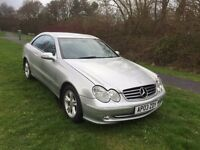 MERCEDES CLK 240 AVANTGARDE AUTOMATIC COUPE 03 REG, SILVER WITH BLACK LEATHER, MOT 2018 07867955762