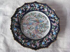 Vintage Persian Decorative Painted Enamel Wall-Plate