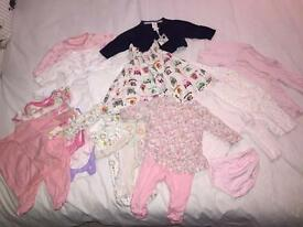 0-3 month bundle of girls baby clothes