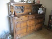 SOLD PENDING COLLECTION Ercol 3 cupboard 3 drawer 2 leaded doors dresser