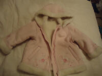 Girls pink suedette coat 12-18 monthes