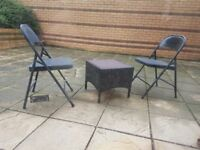 Garden rattan effect table and 2 metal chairs