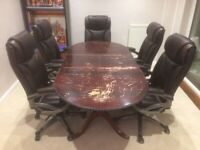 Dark Brown Oval Dining Table (Extendable)