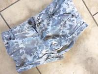 Miss Selfridge, patterned jean shorts, size 8