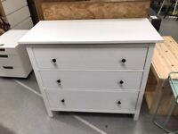 HEMNES Chest of 3 drawers, white stain 108x96 cm IKEA CROYDON #bargaincorner